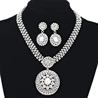 Bridal Wedding Jewelry Set, Gorgeous Austrian Crystal Rhinestone Earrings Pendant Necklace