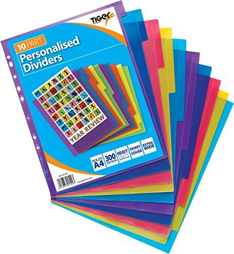 Tiger - Separadores para archivador personalizable A4 10 parte Extra ancho x 1 set: Amazon.es: Oficina y papelería