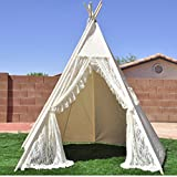 hot selling lace design Play Teepee 100% Cotton Canvas Portable Indoor Tent for Boy and Girls children playhouse teepee with mat