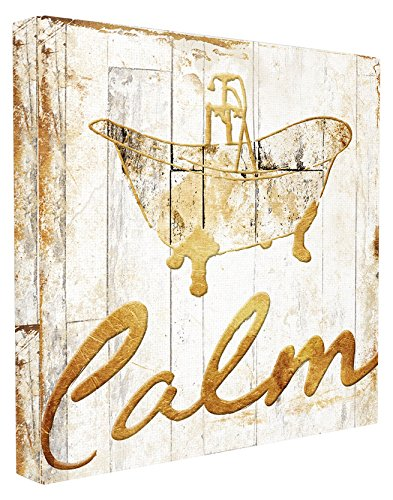 Bath Collection Wall (Stupell Home Décor Calm Bath Tub Gold Planked Look Stretched Canvas Wall Art, 17 x 1.5 x 17, Proudly Made in USA)