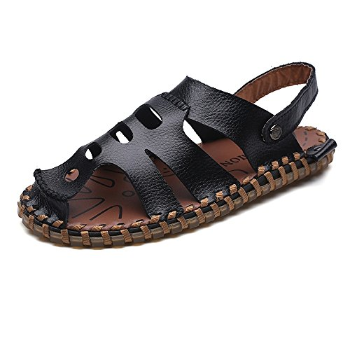 Abrasión Corte Sandalias Sunny Antideslizantes de amp;Baby la Resistente para Zapatillas Switch Cuero Negro de a Playa Genuino Backless Hombres Vamp xYRqUYFP