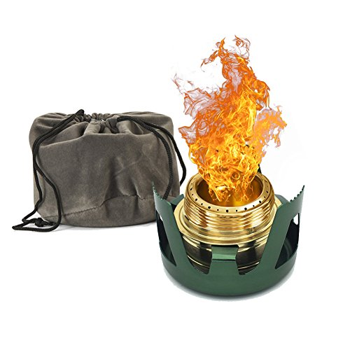 Cheap Towerin Camping Alcohol Stove Mini Windproof Alcohol Burner with Stand Suitable for Backpacking, Hiking and Outdoors Sports (GREEN)