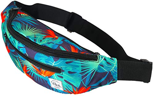 Vibe Fanny Pack Cute Fashion Black Pineapple or Shiny Holographic Silver Gold - Belt Waist Bag Bum Bag Purse for Festival Rave Party Travel for Men Women and Teens (Hawaii) ()