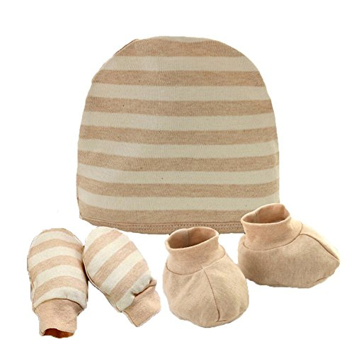Fairy Baby Organic Cotton Newborn Mittens, Booties And Hat Gift Set,Stripe,Brown Shoes Cap Booties
