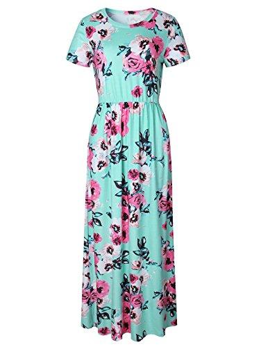 4 Imprim Chic Robe Maxi Plage Elegante Mode Tunique Robe de Cocktail Vintage Femme 3 Boheme Soire Ceremonie Manche Florale V Landove Vert B Longue Fleurie Col t YqanfxH