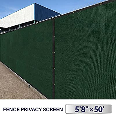Outdoor Patio Privacy Fence Screen 6x50 Yard Windscreen Chain Link Fencing Cover Materials with Brass Grommets Landscape Shade Cloth Garden Plants UV Resistance Polyethylene Fabric Netting 6ft Green