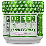 GREEN SURGE Green Superfood Powder Supplement - Greens Drink w/ Spirulina, Wheat & Barley Grass, & Organic Greens - Probiotics & Digestive Enzymes -30sv Keto Friendly