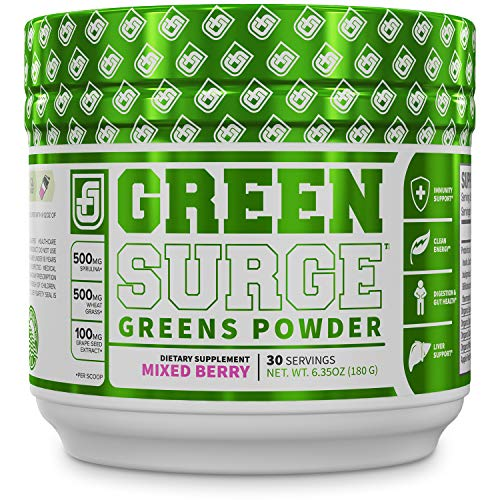 GREEN SURGE Green Superfood Powder Supplement - Greens Drink w/ Spirulina, Wheat & Barley Grass, & Organic Greens - Probiotics & Digestive Enzymes -30sv Keto Friendly (Best Green Drink Supplement)