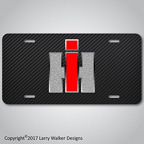INTERNATIONAL HARVESTER IH Logo Aluminum License Plate Tag Carbon Fiber Look