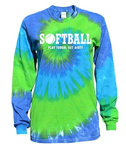 JANT girl Softball Blue Green Tie Dye Long Sleeve T-Shirt Play Tough Softball Logo (M)