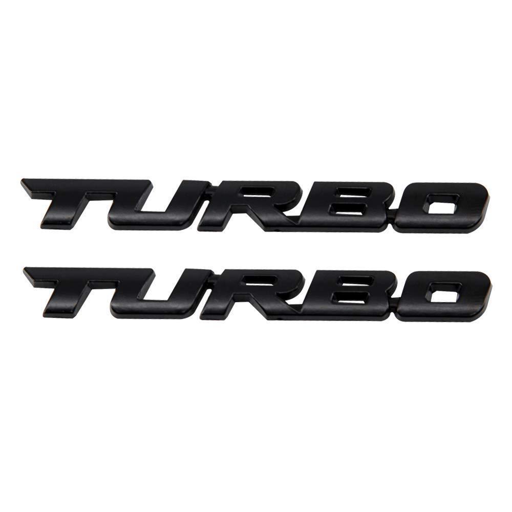 XYGGOO 2PCS Zinc alloy Materials 3D Black TURBO Emblem Badge Decal Sticker for All Car Models