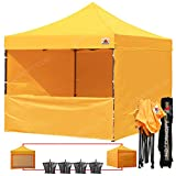 ABCCANOPY (20+ Colors) 10-feet by 10-feet Festival Steel Instant Canopy, Commercial Level, with Wheeled Storage Bag, 6 Removable Zipper End Walls, Bonus 4X Weight Bag (Gold) For Sale