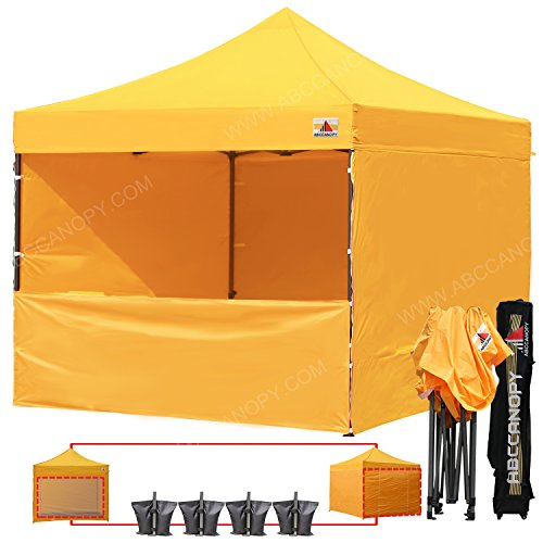 ABCCANOPY (20+ Colors) 10-feet by 10-feet Festival Steel Instant Canopy, Commercial Level, with Wheeled Storage Bag, 6 Removable Zipper End Walls, Bonus 4X Weight Bag (Gold)