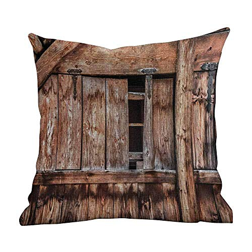Gold Oak Lace - Matt Flowe Soft Pillow Case Rustic,Abandoned Damaged Oak Barn Door with Iron Hinges and Lateral Cracks Knock Theme,Light Rosewood,Square Cotton Linen Pillowcase Cover Cushion 14