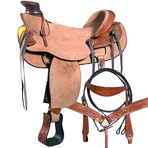 Great American 16″ Horse Western Wade Ranch Roping Trail Saddle Leather
