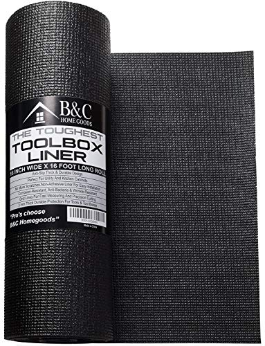 (Professional Tool Box Liner and Drawer Liner - Black 16 inch x 16 feet Non-Slip Shelf Liner Is Perfect For Protecting Your Tools - These Thick Cabinet Liners Are Easily Adjustable To Fit Any Space)