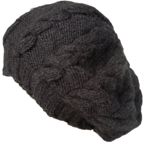 Nirvanna Designs CH208 Cable Beret with Fleece, Charcoal