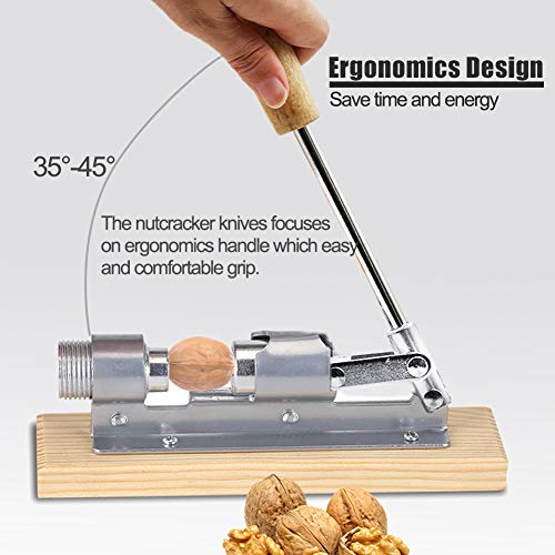 Fdit Heavy Duty Nut Cracker Pecan Nutcracker Walnut Plier Opener Tool,  Walnut Wood Base & Handle