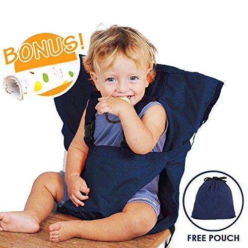 Baby HighChair Harness | Portable Travel Safety Belt Booster Feeding High Chair Seat Cover Sack Cushion Bag for Baby Kid Toddler | Secure with Adjustable Straps | Include Hand Wash Cloth | Dark Blue (Portable High Chair)