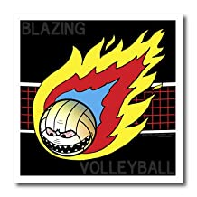 3dRose ht_5290_2 Blazing Angry Volleyball Crossing The Net Iron on Heat Transfer for White Material, 6 by 6-Inch
