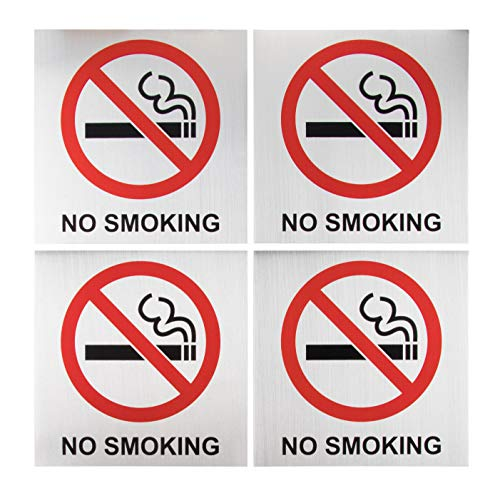 - No Smoking Signs - 4-Pack Metal No Smoking Square Aluminum Signs, Self-Adhesive, Ideal for Public Spaces, Coffee Shops, Restaurants, Indoors and Outdoors, 5.5 x 5.5 Inches