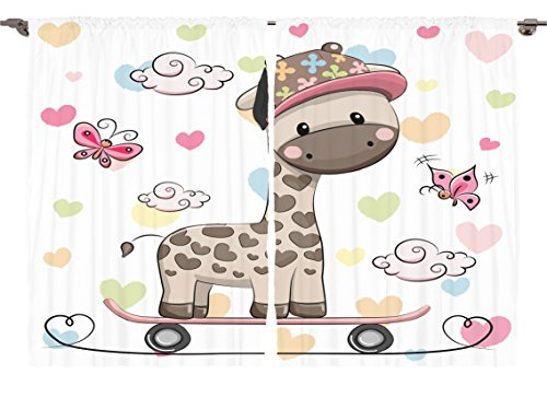 Ambesonne Girls Boys Nursery Room Animal Decor Collection, Cute Giraffe Wearing Cap on a SkateBoard with Butterflies Image, Window Treatments for Kids Bedroom Curtain 2 Panels Set, 108X63 Inches