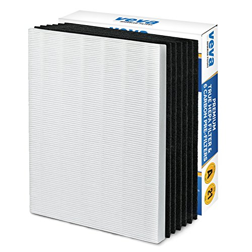 Premium True HEPA Filter with 6 Activated Carbon Pre Filters compatible with Winix 115115 Size 21 and with PlasmaWave P300, 5300, 5500, 6300 & Fellowes Aeramax 290, 300, DX95 by VEVA Advanced Filters
