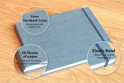 Watercolor Pad - Size 8.5 x 11.0 inches - 50 sheets - Hot-Pressed Paper (220 gsm) - Linen bound hardback - Ideal for Artists of all Levels - MozArt Supplies Photo #3