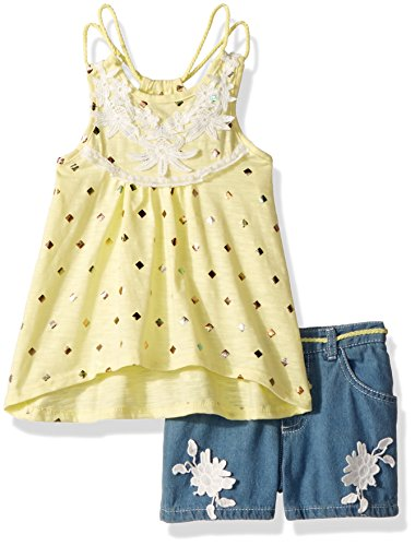 Nannette Girls' Little 2 Piece Fashion Denim Short Set, Yellow, 6