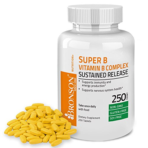 Bronson Vitamin B Complex Sustained Slow Release (Vitamin B1, B2, B3, B6, B9 - Folic Acid, B12), 250 (Release B-12 Vitamins)