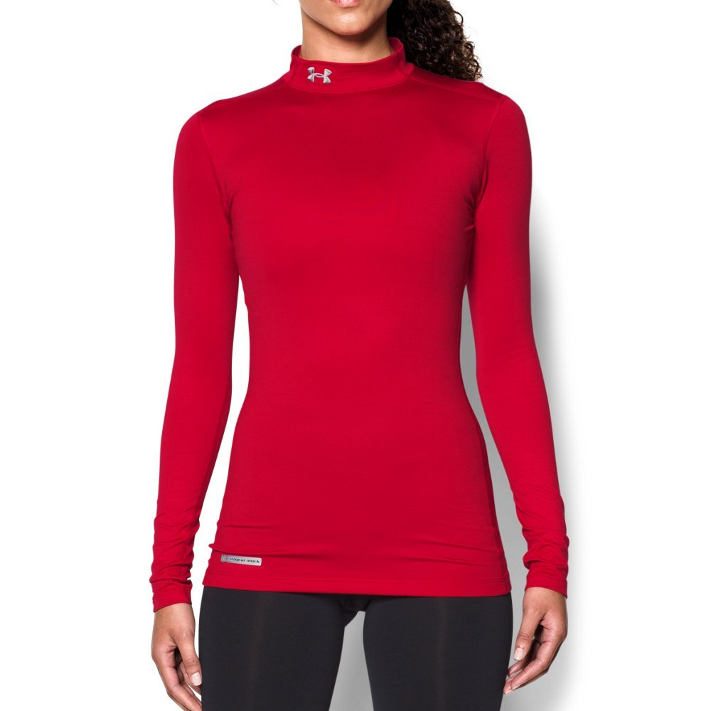 Under Armour Women's ColdGear Authentic Mock, Red (600)/Metal, Small