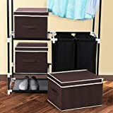 SONGMICS Large Storage Bins Cube Box with lids and Dual Non-woven Handles for Home Closet Bedroom Drawers Organizers Set of 3, Brown URLB40K