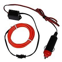 SODIAL(R) LED Flexible EL Wire Neon Glow Tube Lamp Light DC 12V Inverter for Car, 2M Red