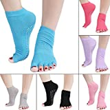 Women's Non Slip Yoga Pilates Cotton Socks Half Toe with Grips-pack of 5 Pairs