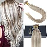 Sunny 18inch U Tip Hair Extensions Human Hair, Dark Ash Blonde to Bleach Blonde Highlight Extensions U Tip Keratin Remy Hair Extensions 1g/1s 50G