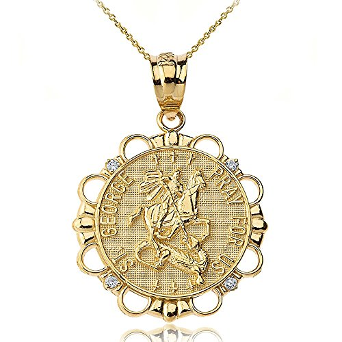 - 14k Gold St. George Pray For Us Diamond Round Medal Necklace, 22