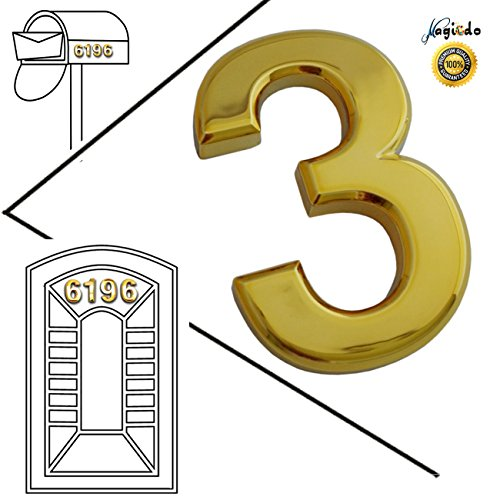 Magicdo 3 Pieces of Number 3, 2-3/4 Inch Modern Golden House Numbers, Adhesive Mailbox Number, 3D Metal Shining Reflective Number, Self-Stick Number for Door, House, Street Signs and Mailbox Decor