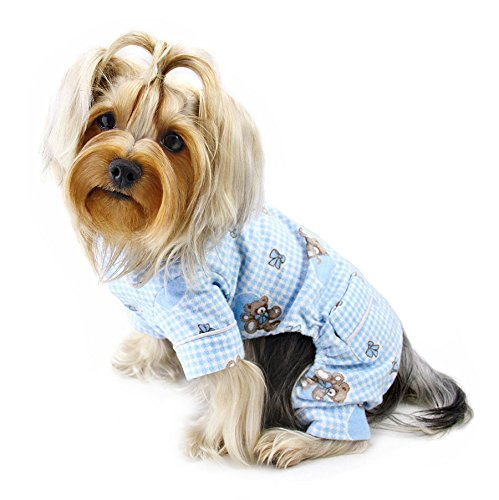 Klippo Teddy Bear Flannel Pamajas/Bodysuit/Overall - Light Blue - Small ()