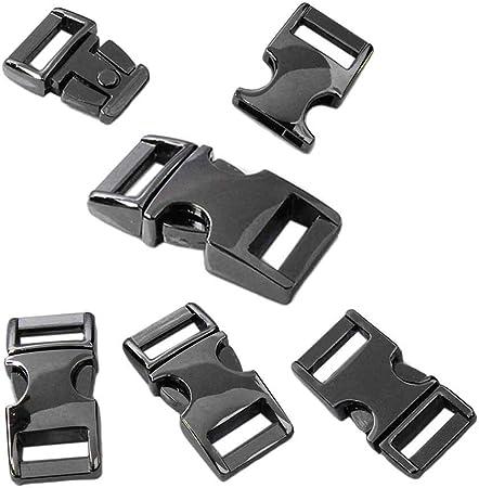 "Brushed Nickle 3//8/"" Metal Curved Top Buckle Paracord Survival Bracelet 5 Pack"