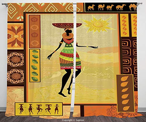 (Rod Pocket Curtain Panel Polyester Translucent Curtains for Bedroom Living Room Dorm Kitchen Cafe/2 Curtain Panels/120 x 66 Inch/Afro Decor,African Girl Dressed Ethnic under Sun Figure Folk Culture)