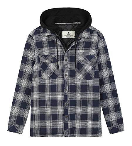 WenVen Men's Casual Checkered Plaid Flannel Long Sleeve Shirt(Dark Blue,XL)