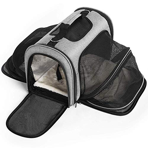 Cat Carrier Portable Pet Travel Carrier, Soft-Sided Expandable, Two Side Expansion, Airline Approved Carrier for Easy Carry On Luggage Outdoor, for Small Dogs, Puppies, Cats, Kittens (Pet Carrier) ()