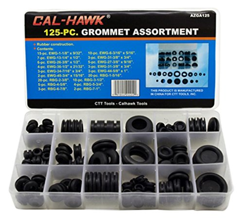 Cal-Hawk AZGA125 Rubber Grommet Assortment Set Electrical Gasket, 125 Piece