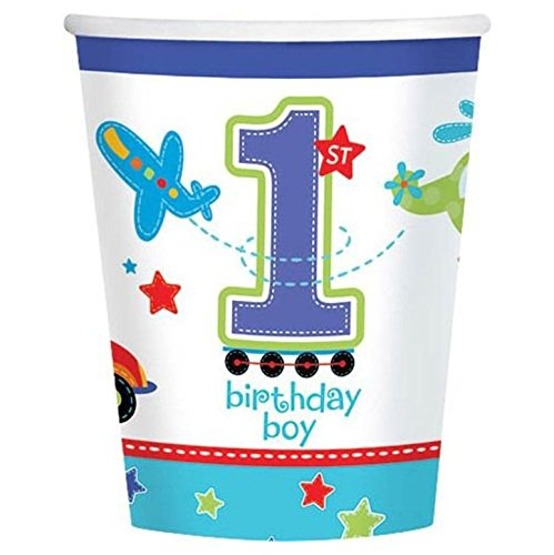 All Aboard 1st Birthday 9oz Cups (18 Pack) - Party Supplies