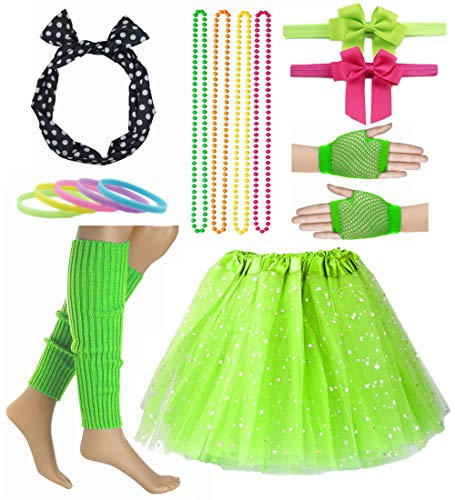 Girl 80s Star Sequin Tutu Skirt with Neon Necklace Bow Headband Hair Clip Set -