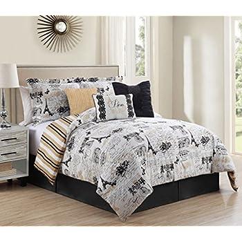 Amazon Com Casa Paris Gold 8 Piece Comforter Set Full