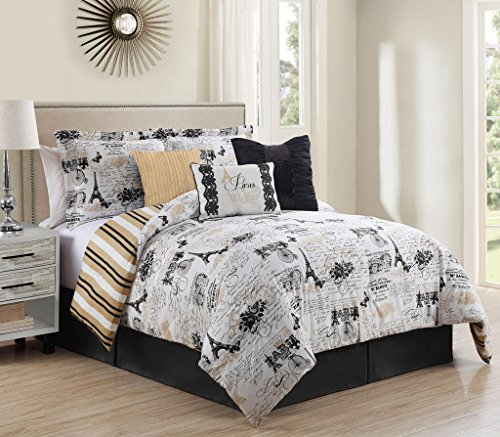 KingLinen 11 Piece Queen Oh-La-La Reversible Bed in a Bag Set