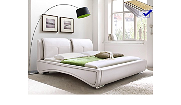 Cama acolchada blanco 180 x 200 cama + somier + colchón + ...