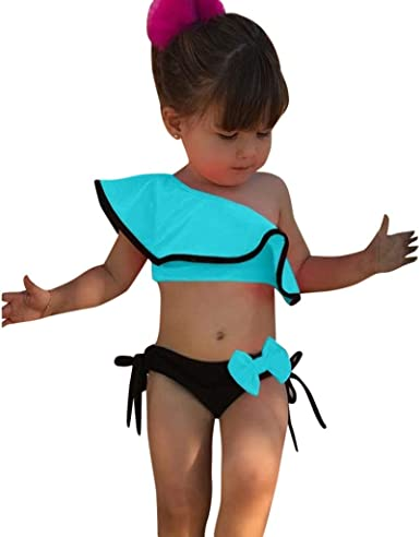 US Baby Kids Girl Stripe Watermelon Swimsuit Swimwear Ruffle Bikini Bathing Suit