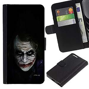 Personajes de Películas Bat Broma Negro- la tarjeta de Crédito Slots PU Funda de cuero Monedero caso cubierta de piel Para Apple (5.5 inches!!!) iPhone 6+ Plus / 6S+ Plus